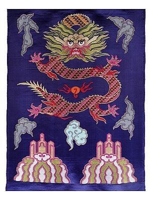 Deep-Ultramarine Hand-woven Tibetan Dragon Brocade Patch from Banaras