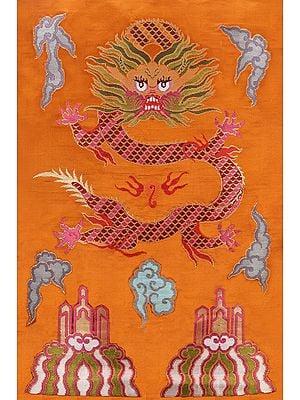 Golden-Oak Hand-woven Tibetan Dragon Brocade Patch from Banaras
