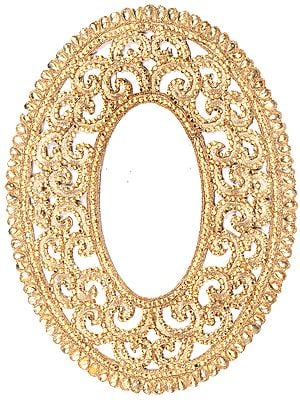 Golden Crystals Embellished Oval Patch with Cut-Work