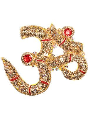 Pair of Golden Zardozi Auspicious Om (AUM) Patches with Sequins