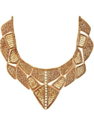 Pale Gold Zardosi Neck Patch with Embroidered Beads All-Over