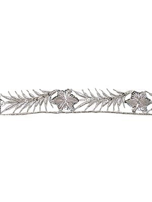 Silver Zardozi Border with Hand-Embroidered Flowers