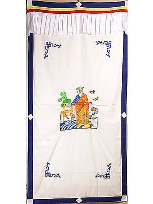 The Six Symbols of Longevity (Embroidered) - Tibetan Buddhist Altar Curtain