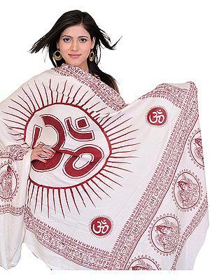 Ivory Sanatana Dharma Prayer Shawl with Large Printed Om