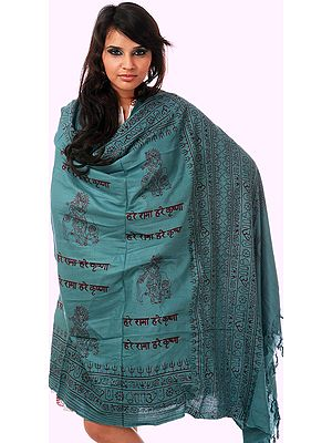 Prayer Shawl with Printed Hare Ram Hare Krishna Mantra