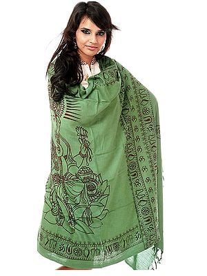 Green Printed Ganesha Prayer Shawl