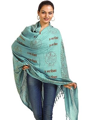Om Namah Shivai Shawl with Printed Nataraja Figures
