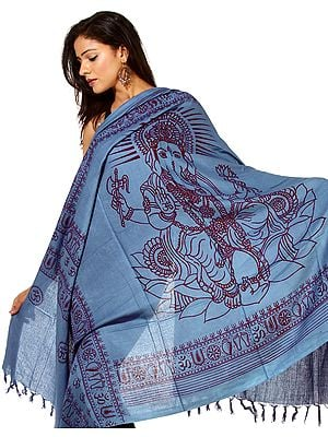 Royal-Blue Printed Ganesha Prayer Shawl