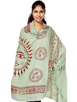 Green Sanatana Dharma Prayer Shawl with Large Printed Surya (Sun) God