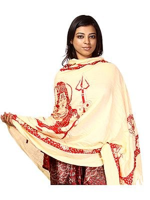 Cream Lord Shiva Hindu Prayer Shawl