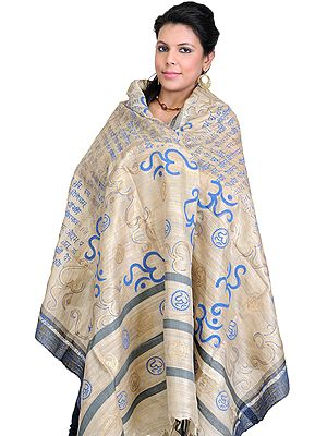 Om and Gayatri Mantra Prayer Shawl