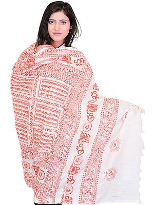 Hindu Prayer Shawl with Printed Sri Ram Jai Ram Jai Jai Ram Mantra