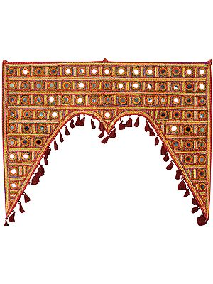 Maroon Embroidered Toran for the Doorstep from Kutch with Large Mirrors