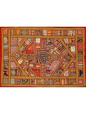 Rabari Embroidered Antiquated Wall Hanging from Kutch