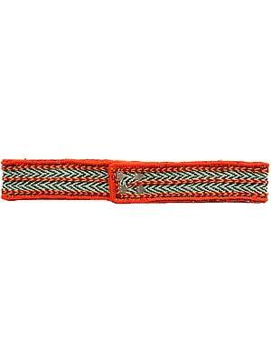 Green and Orange Embroidered Waist Belt from Haridwar