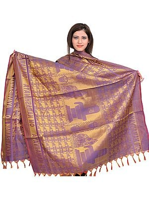 Golden-Violet (OM NAMASHIVAYA) Brocaded Shawl from Tamil Nadu with Woven Shiva Linga and Nandi