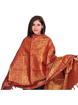 Deep-Claret (MADURAI MEENATCHI) Brocaded Shawl from Tamil Nadu