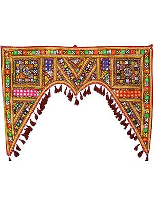 Multicolor Toran for the Doorstep from Kutch with Embroidered Mirrors