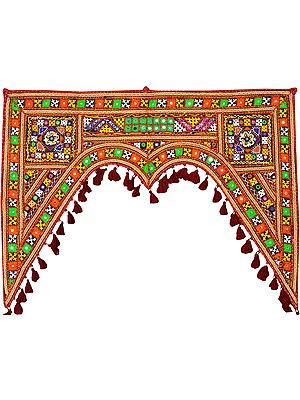 Multicolor Toran for the Doorstep from Kutch with Embroidered Motifs and Mirrors