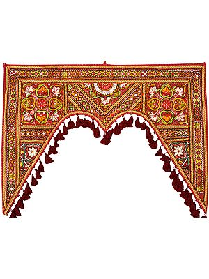 Oxblood-Red Toran for the Doorstep from Kutch with Floral Embroidery by Hand and Mirrors