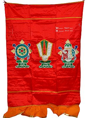 Tango-Red Auspicious Temple Curtain with Vaishnava Symbols Applique
