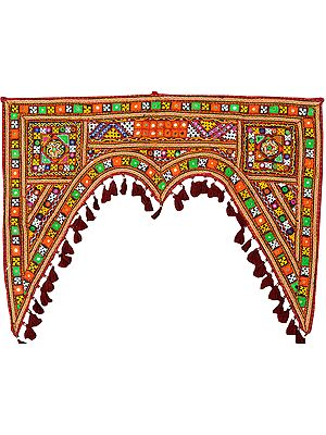 Multicolor Toran for the Doorstep from Kutch with Embroidery by Hand and Mirrors