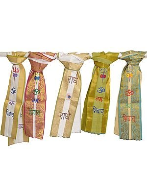 Lot of Five Scarves from Banaras with Brocade Weave and Embroidered Mantras