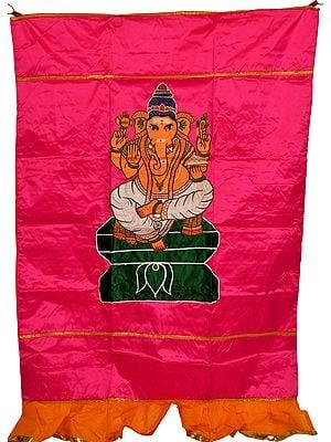 Pink Lord Ganesha Auspicious Temple Curtain
