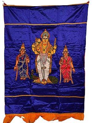 Spectrum-Blue Karttikeya with Shakti Auspicious Temple Curtain