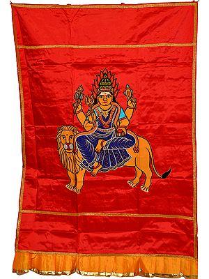 Red Goddess Durga Auspicious Temple Curtain
