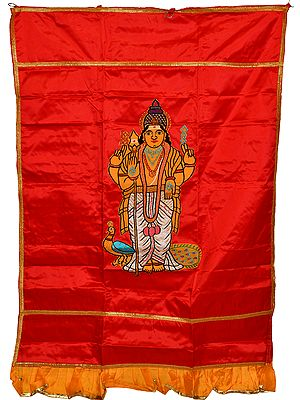 Red Karttikeya (Murugan) Auspicious Temple Curtain