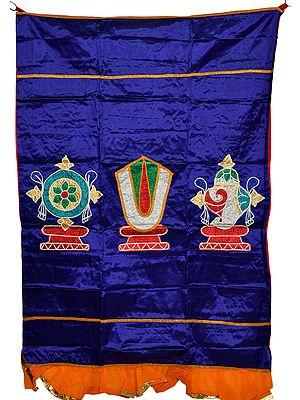 Clematis-Blue Auspicious Temple Curtain with Vaishnava Symbols in Applique