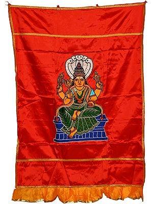 Red South Indian Goddess Karumariamman Auspicious Temple Curtain