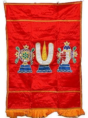 Rococco-Red Vaishnava Symbols Auspicious Temple Curtain