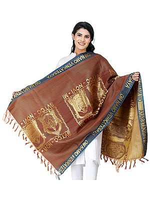 Om Namo Narayana Brocaded Shawl from Tamil Nadu