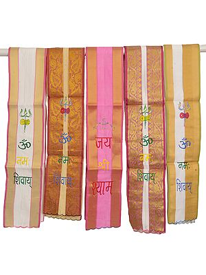 Lot of Five Brocaded Scarves from Banaras with Embroidered Mantras