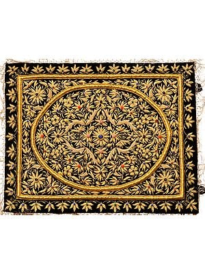 Jet-Black Handcrafted Decorative Jewel Wall Hanging with Intricate Zardozi Hand-Embroidery