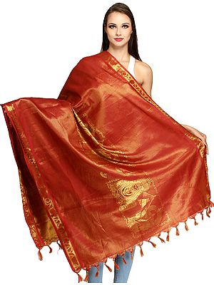 Garnet-Rose Goddess Parvati and Shiva Brocaded Prayer Shawl from Tamil Nadu