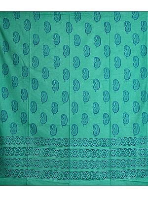 Cascade-Green Curtain with Printed Paisleys
