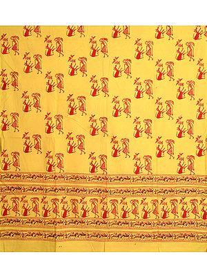 Lemon-Yellow Curtain with Printed Warli Folk Motifs