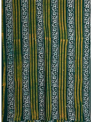 Evergreen Batik-Dyed Curtain with Printed Stripes
