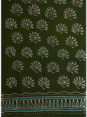 Chive-Green Batik Dyed Curtain with Large Printed Bootis