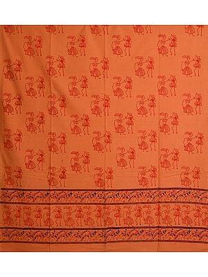 Cadmium-Orange Curtain with Warli Folk-Print
