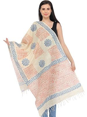 Cream Prayer Stole with Printed Sanskrit Shloka and Religious Motifs