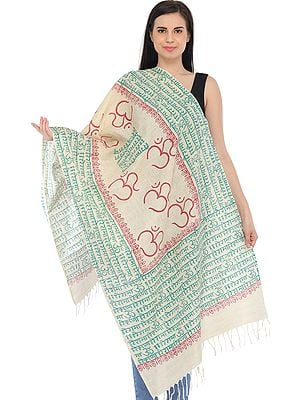 Almond-Oil Hare Rama Hare Krishna Prayer Stole with Printed OM (AUM)