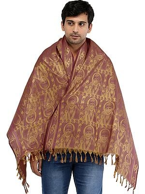 Brocaded Om Sai Baba Prayer Shawl from Tamil Nadu