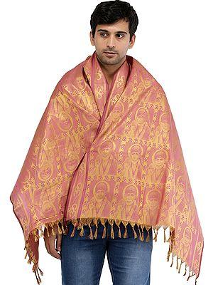 Brocaded Om Sai Baba Prayer Shawl from Tamil Nadu