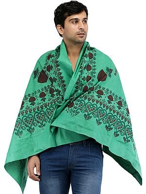 Deep-Mint Lord Ayyappan South Indian Prayer Shawl from Tamil Nadu