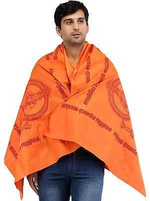Lord Ayyappan Printed Prayer Shawl from Tamil Nadu
