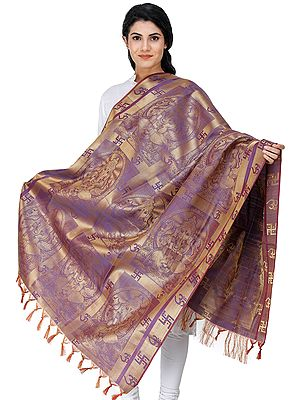 Brocaded Lord Ganesha Prayer Shawl
